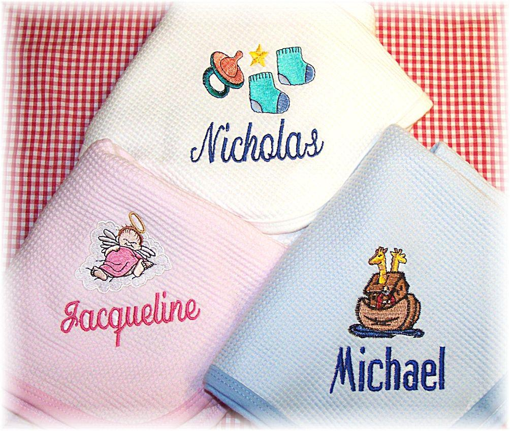 Personalized cotton baby blankets personalized cotton baby blanket with a single name negle Images