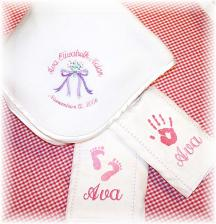 Personalized Baby Blanket and Burp Cloth Sets