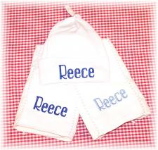 Personalized Baby Hat and Burp Cloth Sets