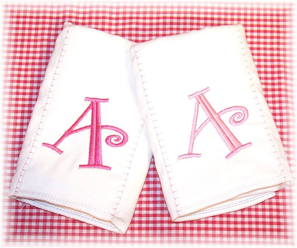 Monogrammed Burp Cloths