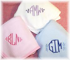 Monogrammed Cotton Baby Blankets